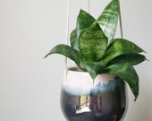 Hanging ceramic planter in pink blush, pale blue and metallic pewter.   Succulent planter. Handmade ceramics.