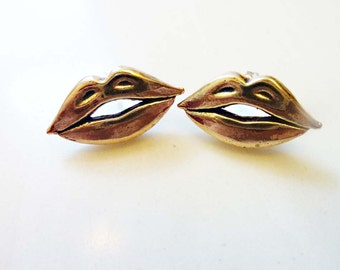 Hot Lips Stud Earrings, Cast Bronze or Sterling Silver, Sterling Posts, Mouth, Smile Face, Body Jewelry, Kiss Earrings