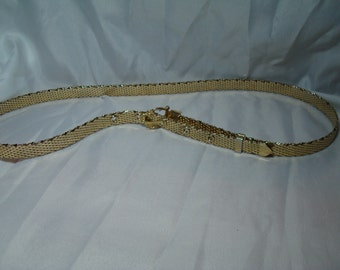 Vintage Whiting and Davis Gold Tone Mesh Skinny Belt.