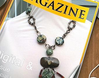 Raku sage taupe animal print gunmetal wirewrapped lampwork semiprecious stone  necklace