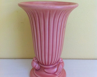 Vintage Pink Pottery Vase, Two Birds, Haeger USA, Small Flower Vase