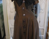 1950's Brown and Black raw silk Dress womens small
