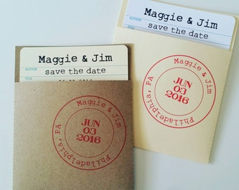 Date Due Library Check Out Card Invitations/Save the Dates