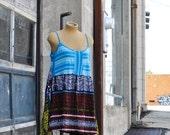 Hobo Curvy Plus Bohemian modern Aztec print slip dress mini dress tunic top upcycled Festival Edgy Beach pirate ruffled boho babydoll