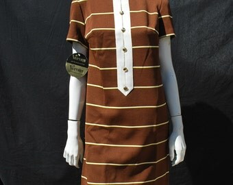 Vintage 70's striped mini dress VERONA knits New Old Stock never used size M by thekaliman