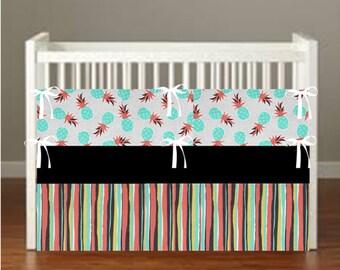 Pineapple Crib Bedding - Nursery Decor 3 Piece Set bumper, skirt, sheet, - Choose Your fabrics