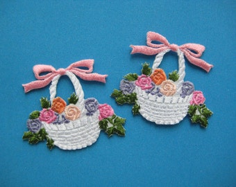 Iron-On embroidered Applique Flowers Basket 1.75 inch