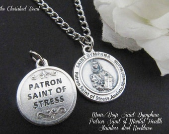 Men's/Boy's Patron Saint of Mental Illness, Stress, or any type of Anxiety Healing - Saint Dymphna Stainless Steel Catholic Necklace