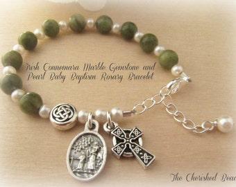 Connemara Marble & Pearl Irish Baby Baptism Rosary Bracelet with Guardian Angel Charm