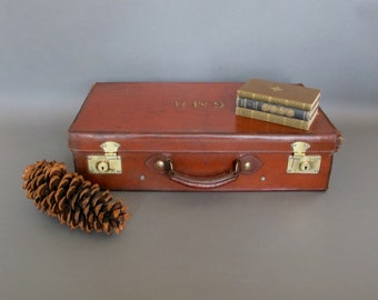 Vintage Leather Suitcase - Circa 1920's - Brown Leather Gentleman's Suitcase from England