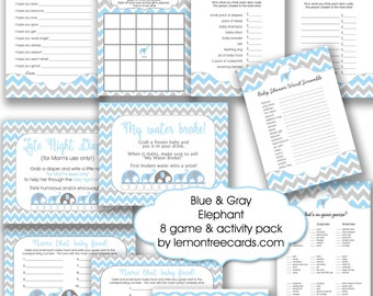 Blue Elephant Baby Shower Game Package, instant download, boy baby shower games, diy boy baby shower games