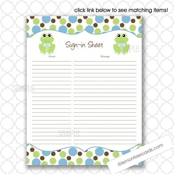 baby shower sign in sheet frog sign in sheet printable guest sign