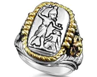 Menes First Egyptian Pharaoh ring Sterling Silver Large
