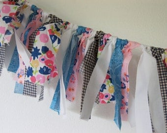 Sweet and Fluffy Rag Tie Banner - Fabric Rag Tie Tassle - Scrap Pennant Jute Rope Bunting - Blues, White and Pinks, Gingham and Floral