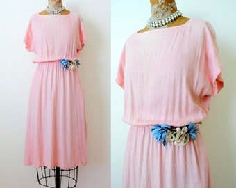 Vintage 1960s Carol Anderson dress pastel pink dress blue millinery flowers shabby Small Medium