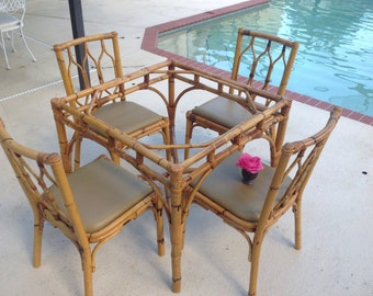 VINTAGE RATTAN TABLE Base Vintage Italian Rattan Bamboo Table / Chippendale Style Table / Hollywood Regency On Sale at Retro Daisy Girl