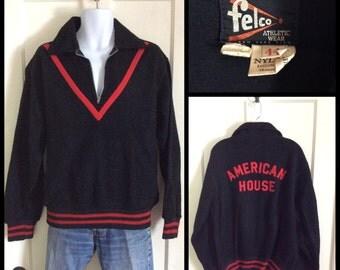 Vintage 1950's half zip Fleece Pullover Black Red Chevron Stripe size 44 Felco American House