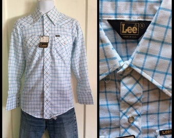 Deadstock Vintage 1970's Lee Western Shirt size Small NOS NWT White Light Blue Plaid