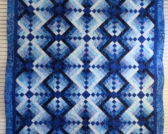 Beautiful Blue batik wall hanging tablecloth lap quilt