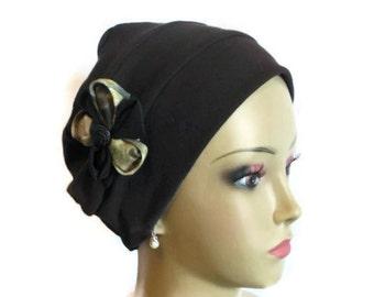 Organic Dark Brown Cotton Turban 3-Seam Hair Covering, Cancer Patient Hat, Alopecia, Tichel & Mitpachat Head Wrap, Volumizer Chemo Headwear
