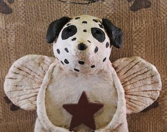 Dalmatian Angel, , OOAK, hand-sculpted from papier mache, Dalmatian Angel Figurine