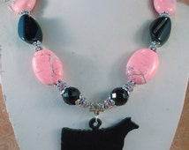 Cowgirl Western Necklace Set - Chunky Pink Howlite Turquoise - Black Agate - Angus Show Heifer Pendant
