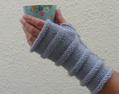 FINGERLESS MITTS / wristwarmers . ,Merino wool / Alpaca blend.Knitted. ' Sky'  ( and other colours)...Ready to ship.....