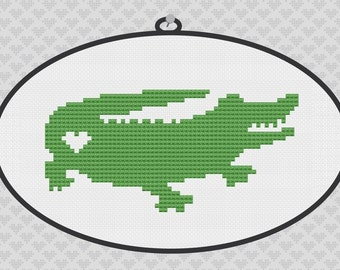 Alligator Silhouette Cross Stitch Pattern