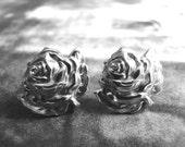 Vintage Sterling Silver Flower Earrings / Earrings / Jewelry / Vintage Sterling Rose Earrings / Screw Back Earrings / Accessories