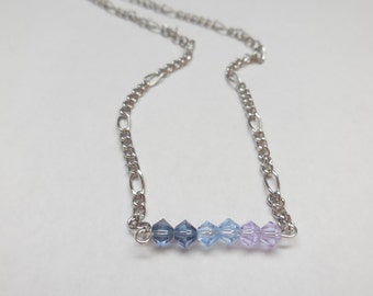 Swarovski crystal light blue purple ombre bar necklace dainty silver chain necklace