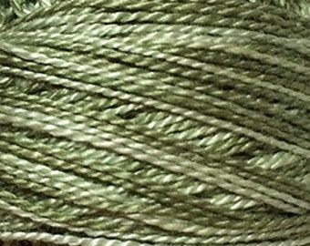 Size 8, O579, Valdani Perle Cotton, Faded Olive, Embroidery Thread, Needlework, Sewing Accessory, Pearl Cotton, Variegated, Colorfast