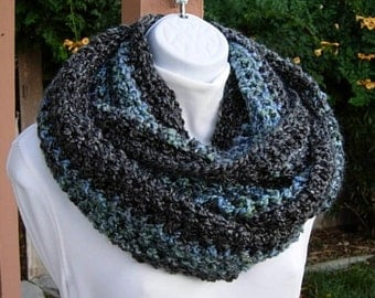 READY To SHIP Extra Large Infinity Scarf, Loop Cowl Black Dark Gray Grey Blue Striped, Big Bulky Chunky Wide Long Soft Crochet Knit Winter