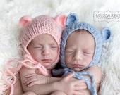 SET Pink Blue Teddy Bear Mohair Baby Hats Newborn Photography Prop