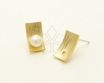 SI-647-MG / 2 Pcs - Rectangular Plate with a Hole Stud Earring, Matte Gold Plated, with .925 Sterling Silver Post / 7mm x 12mm