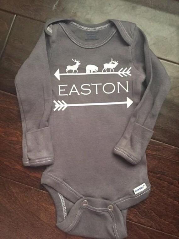 Woodland Animals And Arrow Custom Baby Name Onesie