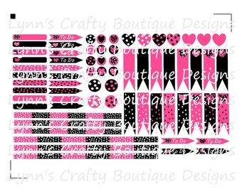 Digital Download/SVG-Hot pink, white, black, Polka Dots KIT-REDUCED