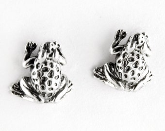 Cute Frog Sterling Silver Stud Earrings