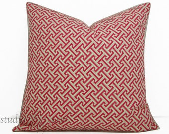 Decorative Pillow Covers - 20X20 - Greek Key - Pink and White  - ready to ship