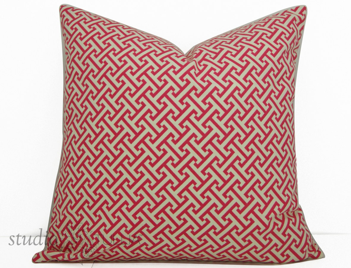 Key Decorative Pillow : Decorative Pillow Covers 20X20 Greek Key Pink and White