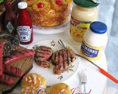 Barbecue Picnic 1:12 Gourmet Grilled Steaks by IGMA Artisan Robin Brady-Boxwell - Crown Jewel Miniatures