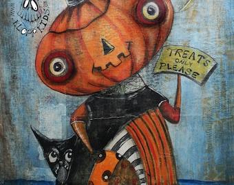 EHAG Whimsical Halloween Painting Original Art Pumpkin JOL Trick or Treat Black Cat  Evil Moon Macabre Orange Free Ship in USA