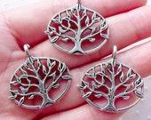 Hollow Tree of Life Charms (3pcs / 27mm x 27mm / Tibetan Silver / 2 Sided) Nature Jewellery Tree Pendant Zipper Pull Yoga Charm CHM2163