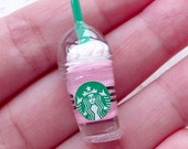 Strawberry Frappe Cabochon (1pc / 13mm x 33mm / Pink) 3D Dollhouse Iced Frappuccino Coffee Cup Kawaii Miniature Sweets Embellishment FCAB344