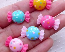 Assorted Candy Cabochons (5pcs / 22mm x 13mm / Flat Back) Kawaii Miniature Sweets Deco Whimsical Dekoden Cute Jewellery Scrapbooking FCAB309