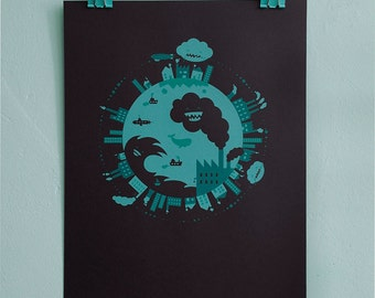 Mint green screen print circular world illustration for big or small girls or boys room