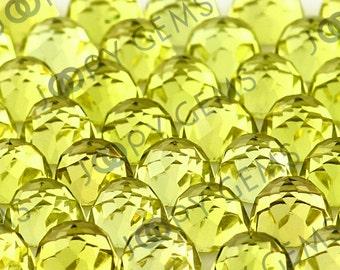 Lemon Quartz Rose Cut Cabochon 6mm Round - 1 cab
