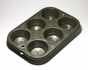 Vintage Ekco Muffin Tin with Sunburst Design - circa 1930's