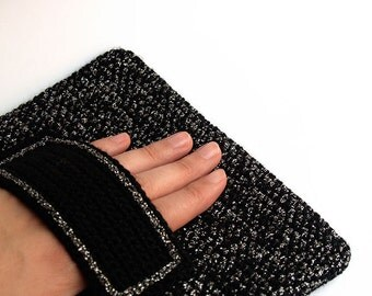 SALE!! 45% OFF!! Black and silver rectangular crochet clutch