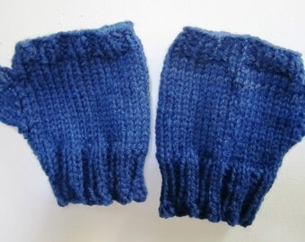 Civil War Reenactor Fingerless Gloves Victorian Texting Mitts Hand Knit Wool Short Unisex Steampunk Navy Blue - Size Large
