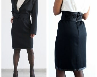 1980s Kenzo Black Skirt Suit XS Wool Skirt and Cropped Jacket Designer Suit High Fashion